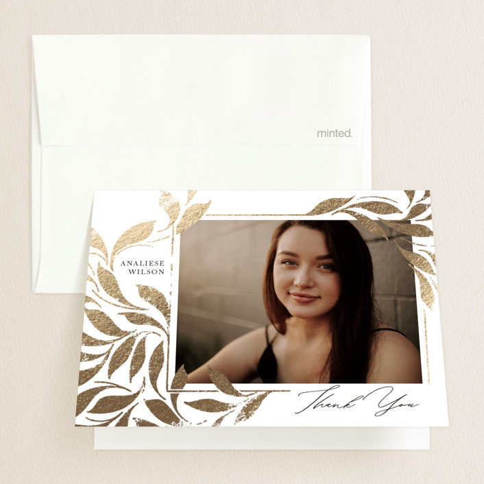 """""""Ivy"""" - Foil-pressed Graduation Announcement Thank You Cards in Ivy by Erin L. Wilson."""