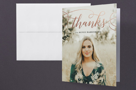 Embellish Foil-Pressed Graduation Announcement Thank You Cards