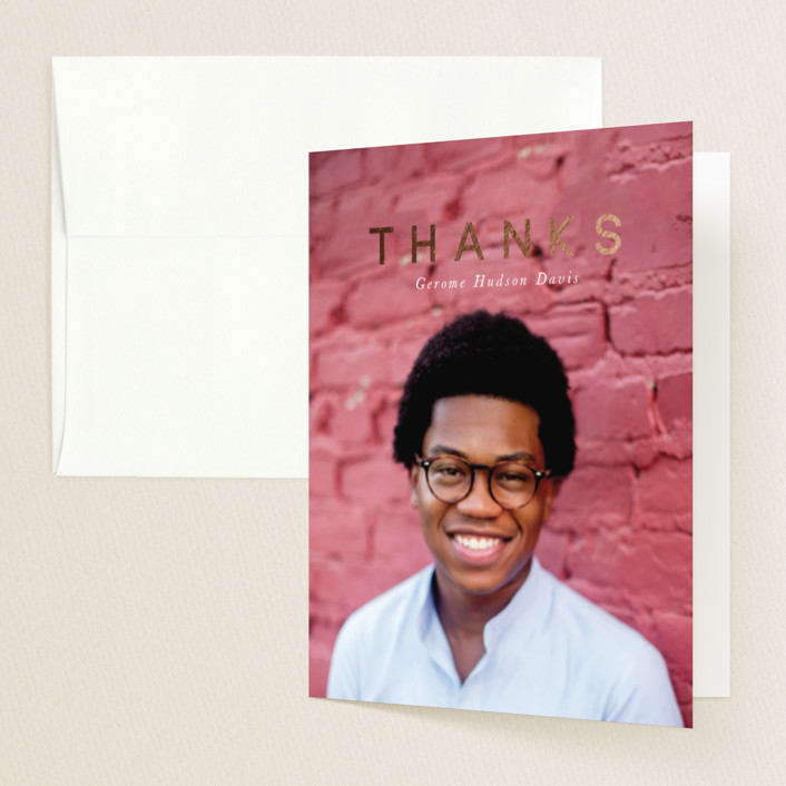 """Modern Bliss"" - Modern Foil-pressed Graduation Announcement Thank You Cards in Golden by Joan Nguyen."