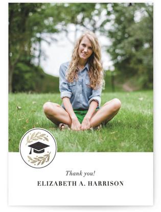 Laurel Foil-Pressed Graduation Announcement Thank You Cards