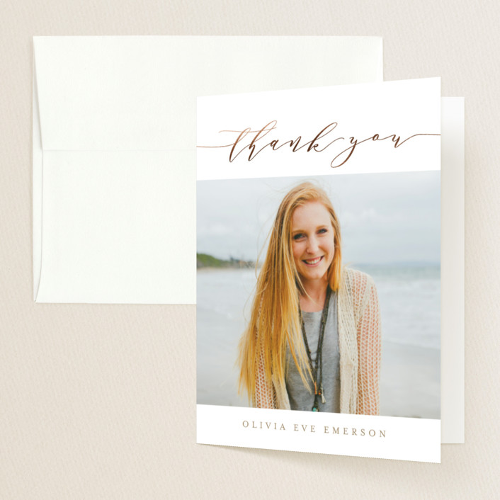 """""""Modern Grad Gallery"""" - Preppy Foil-pressed Graduation Announcement Thank You Cards in Golden by Kristie Kern."""