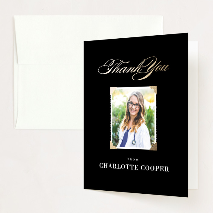 """""""Medical Degree"""" - Foil-pressed Graduation Announcement Thank You Cards in Onyx by Jill Means."""