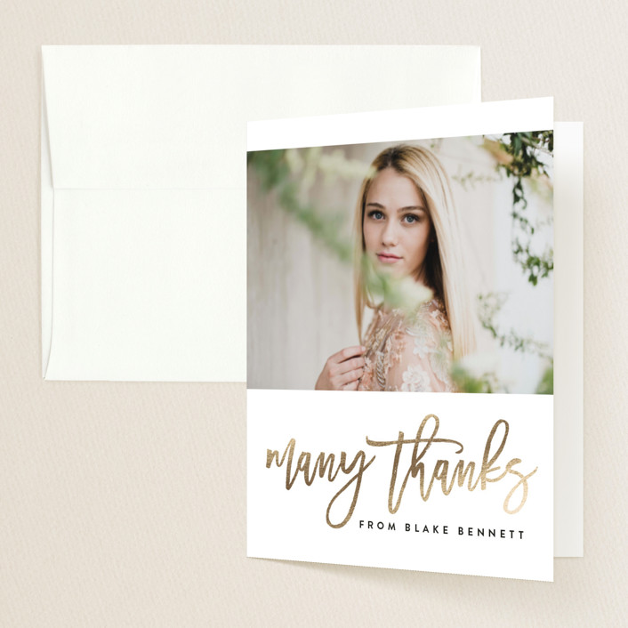 """Chic Squares"" - Modern Foil-pressed Graduation Announcement Thank You Cards in Frost by Erica Krystek."