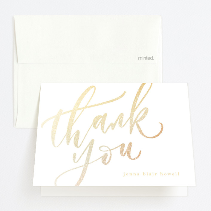 """""""Class Stamp"""" - Foil-pressed Graduation Announcement Thank You Cards in Powder by Julie Murray."""