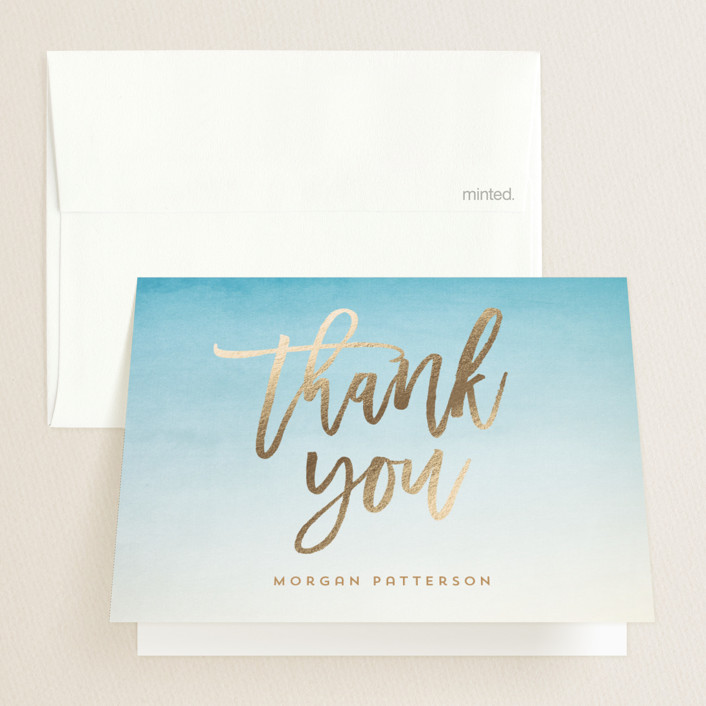 """""""Ombre"""" - Modern Foil-pressed Graduation Announcement Thank You Cards in Surf by Lisa Cersovsky."""