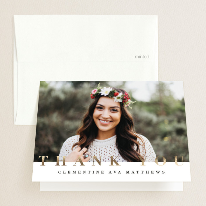 """Modern Chic"" - Modern Foil-pressed Graduation Announcement Thank You Cards in Onyx by Jennifer Lew."