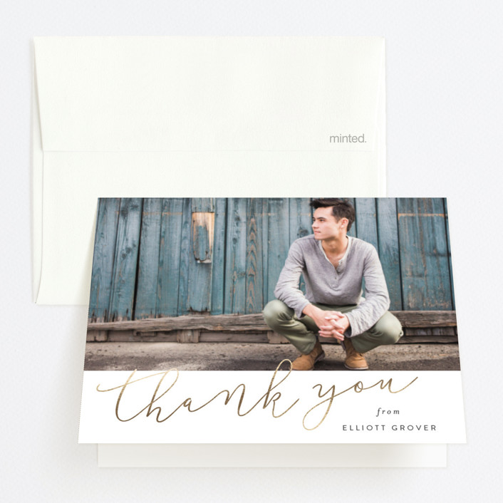 """""""Simply Bright"""" - Foil-pressed Graduation Announcement Thank You Cards in Leather by Sara Hicks Malone."""