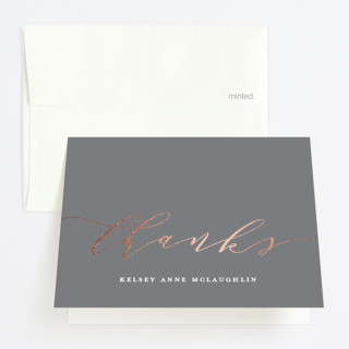 """Graduate Script"" - Foil-pressed Graduation Announcement Thank You Cards in Stone by Paper Dahlia."