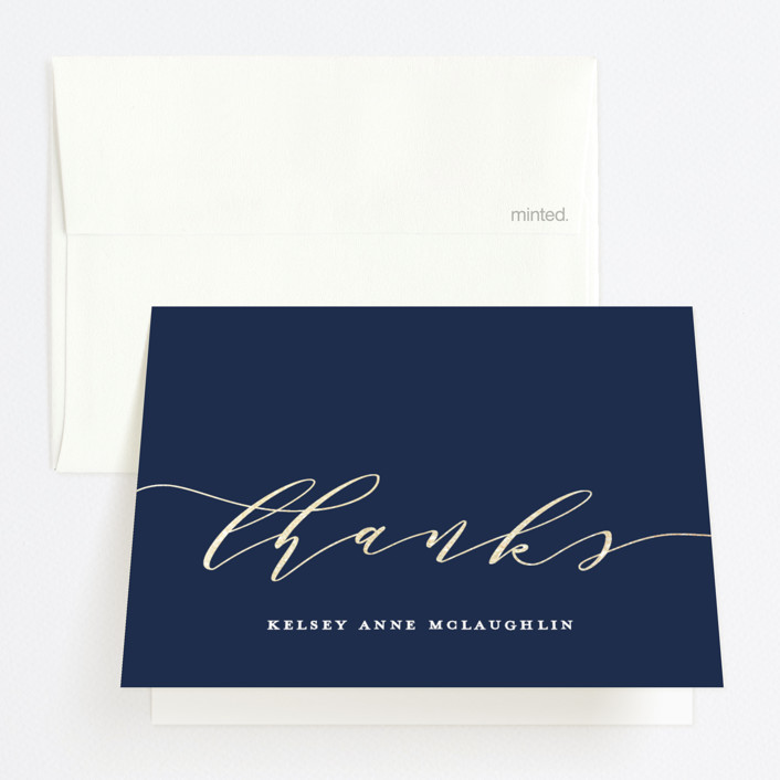 """Graduate Script"" - Foil-pressed Graduation Announcement Thank You Cards in Navy by Paper Dahlia."