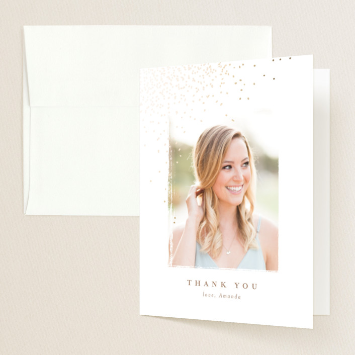 """amandine"" - Foil-pressed Graduation Announcement Thank You Cards in Golden by chocomocacino."