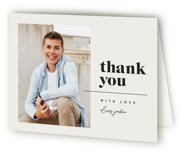 This is a beige graduation thank you card by Kelly Schmidt called Retro Graduate with standard printing on strathmore in standard.