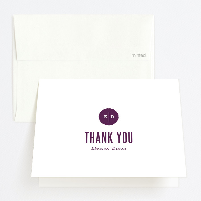 """""""Simplicity"""" - Simple, Modern Graduation Thank You Cards in Plum by That Girl Press."""