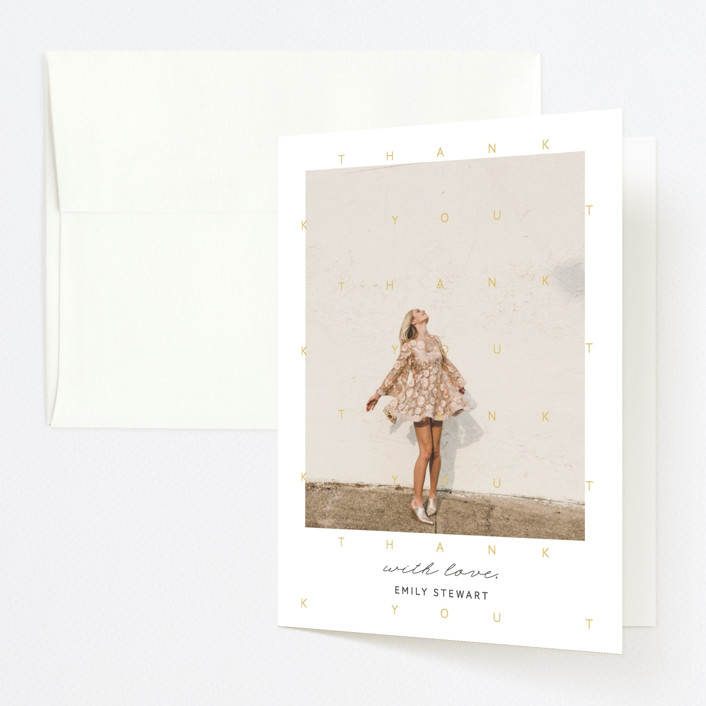 """""""Congrats Grad!"""" - Modern Graduation Thank You Cards in Mustard by Blustery August."""