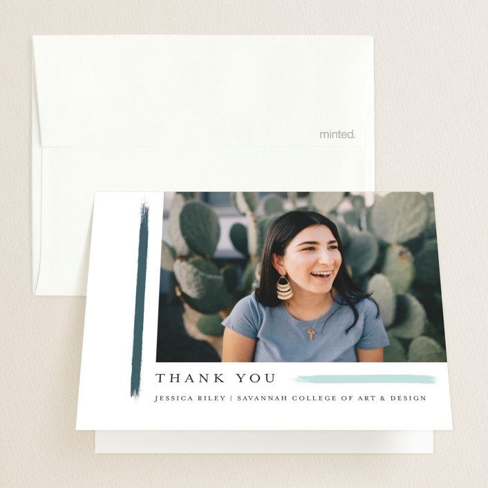 """""""holiday brushed"""" - Graduation Thank You Cards in Evergreen by Bethany McDonald."""