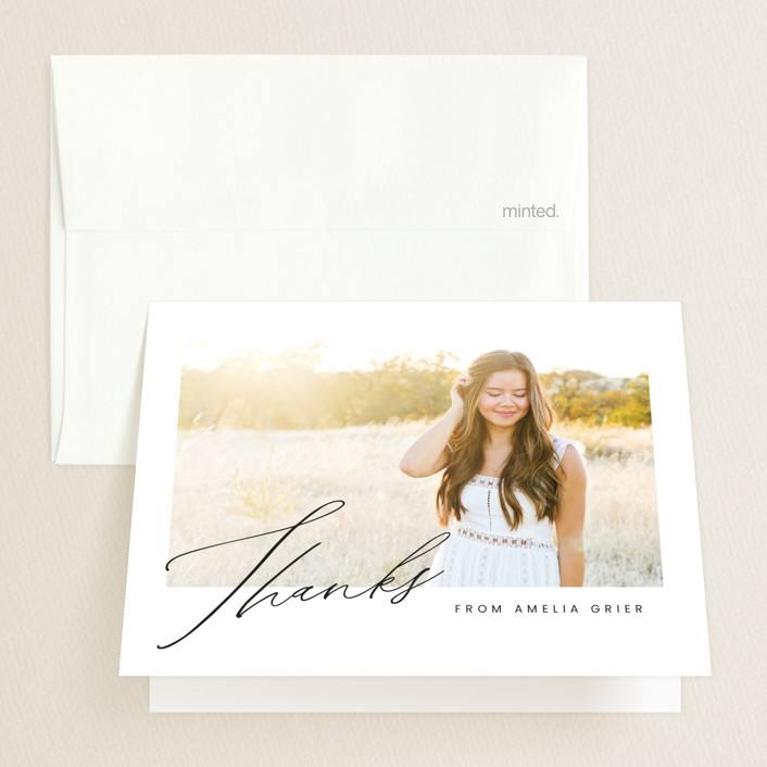"""Signed"" - Graduation Thank You Cards in Crystal by Ink and Letter."