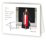 This is a white graduation thank you card by Creo Study called worth the hassle with standard printing on strathmore in standard.