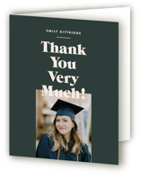 This is a green graduation thank you card by Annie Clark called Type Stack with standard printing on strathmore in standard.