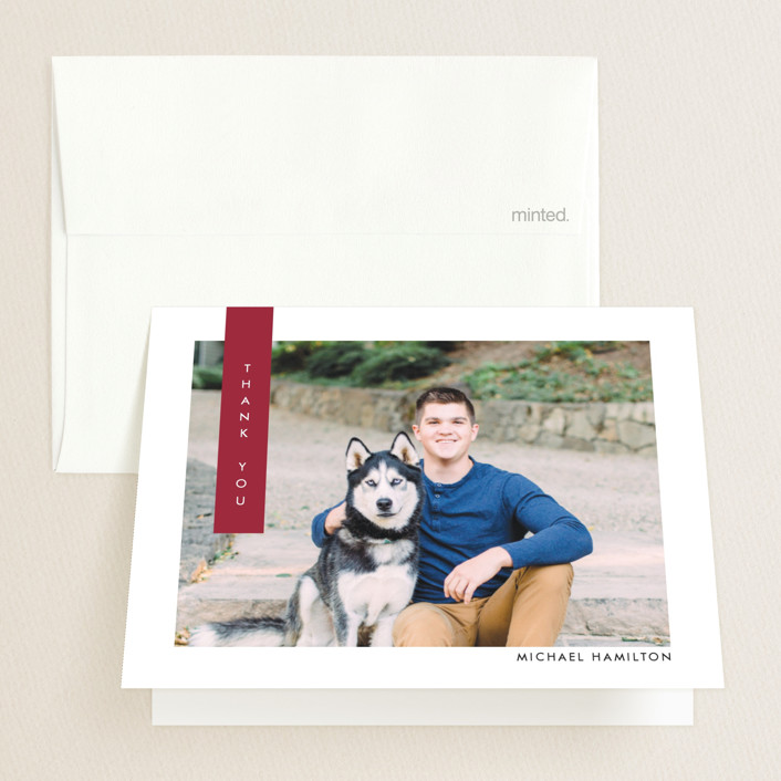 """Simple Spirit"" - Preppy Graduation Thank You Cards in Wine by Ekko Studio."