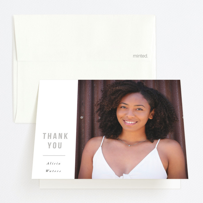 """Chase Dreams"" - Graduation Thank You Cards in Go Getter Grey by Cindy Reynolds."