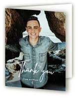 This is a white graduation thank you card by Sara Hicks Malone called Signed with standard printing on strathmore in standard.