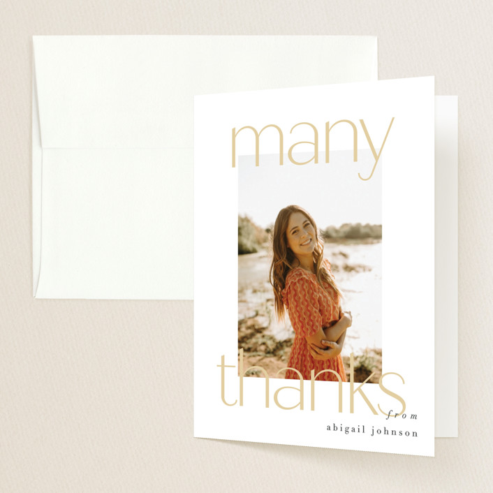 """""""chic five"""" - Modern Graduation Thank You Cards in Marigold by Carolyn Nicks."""