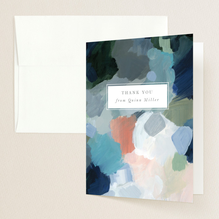 """""""abstraction"""" - Modern Graduation Thank You Cards in Ocean by Nicole Walsh."""