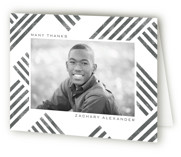 This is a grey graduation thank you card by Paper Sun Studio called Making Tracks with standard printing on strathmore in standard.