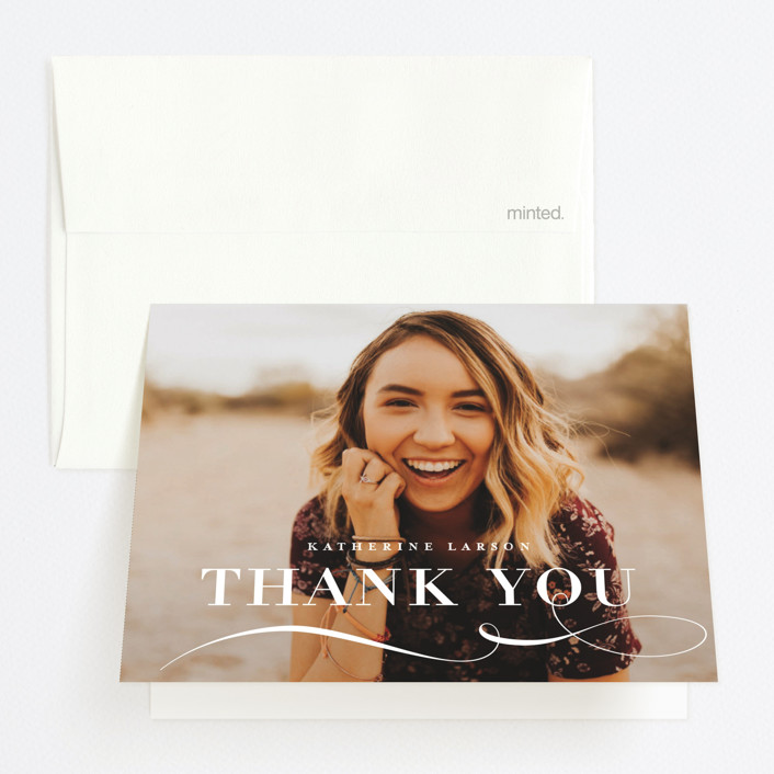 """""""Decorative Date"""" - Graduation Thank You Cards in Snow by Lauren Chism."""