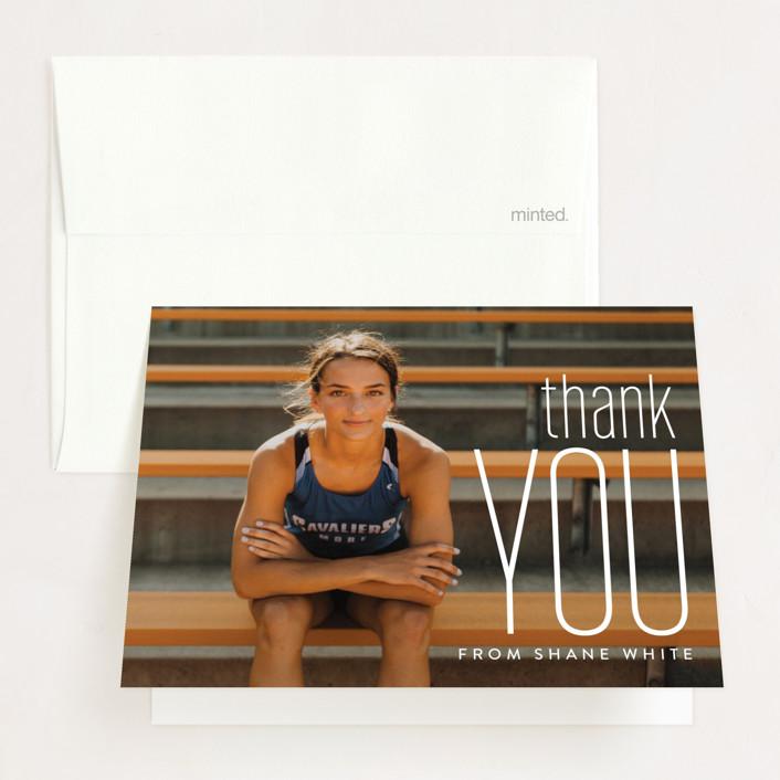 """Big Grad"" - Graduation Thank You Cards in Cloud by Erin Deegan."