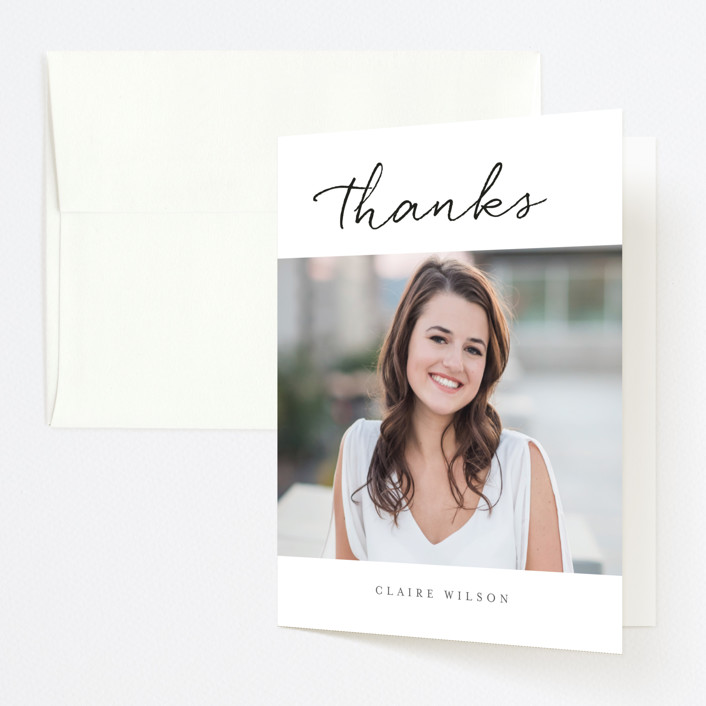 """Joyful Memories"" - Graduation Thank You Cards in Tuxedo by Sara Hicks Malone."