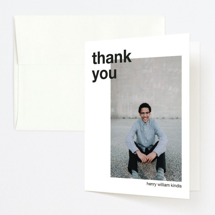 """Modern Alignment"" - Modern Graduation Thank You Cards in Ebony by JoAnn Jinks."