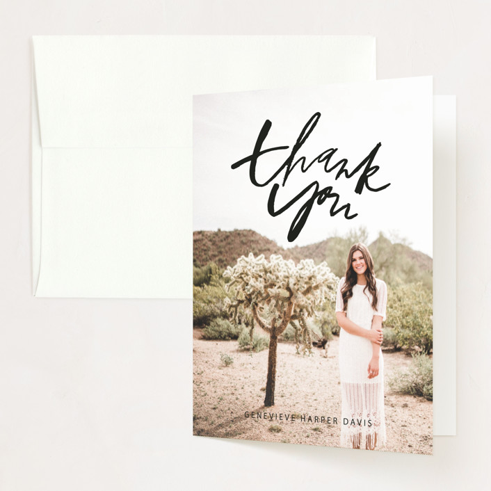 """""""Clean and Sweet"""" - Modern Graduation Thank You Cards in Smoke by Still and Mundane."""