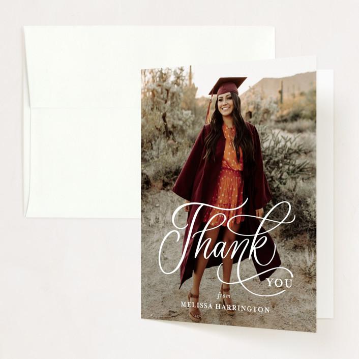 """Script Grad"" - Modern Graduation Thank You Cards in Cloud by Erin German."