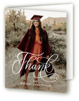 This is a white graduation thank you card by Erin German called Script Grad with standard printing on strathmore in standard.