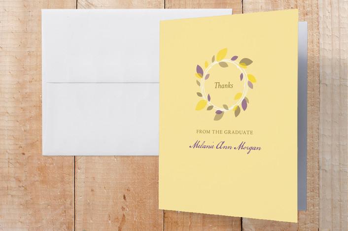 """""""Autumn Wreath"""" - Graduation Thank You Cards in Lemon Chiffon by Oscar & Emma."""