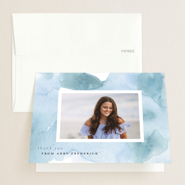 """Watercolor 2019"" - Graduation Thank You Cards in Wash by Erin German Design."