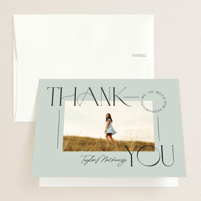 """Mod Grad"" - Modern Graduation Thank You Cards in Mint by Wildfield Paper Co."