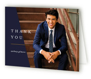 This is a blue graduation thank you card by Pixel and Hank called The Side with standard printing on strathmore in standard.
