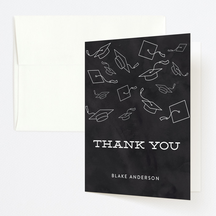 """""""Hats Off To The Grad"""" - Vintage Graduation Thank You Cards in Chalkboard by Sara Showalter."""