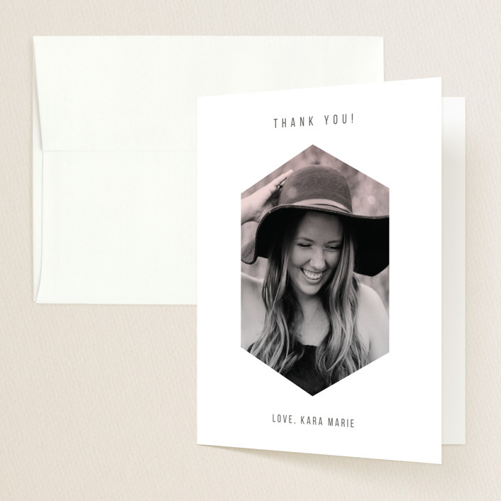 """Sleek Shape"" - Graduation Thank You Cards in Blush by Simona Camp."