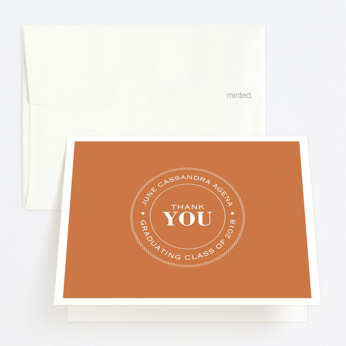 """""""Graduate Ring"""" - Graduation Thank You Cards in Pumpkin by Luckybug Designs."""