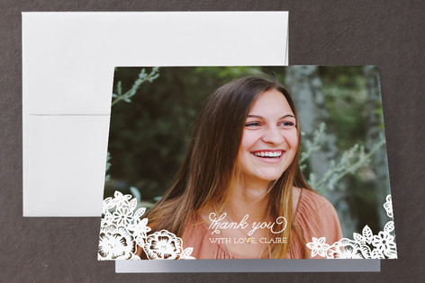 Floral Lace Graduation Thank You Cards