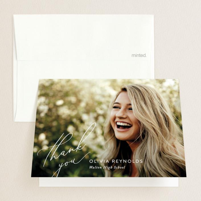 """Adventures Await"" - Graduation Thank You Cards in Cotton by Jennifer Postorino."