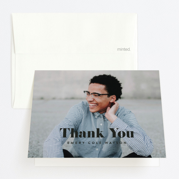 """A Big Year"" - Graduation Thank You Cards in Onyx by Kasia Labocki."