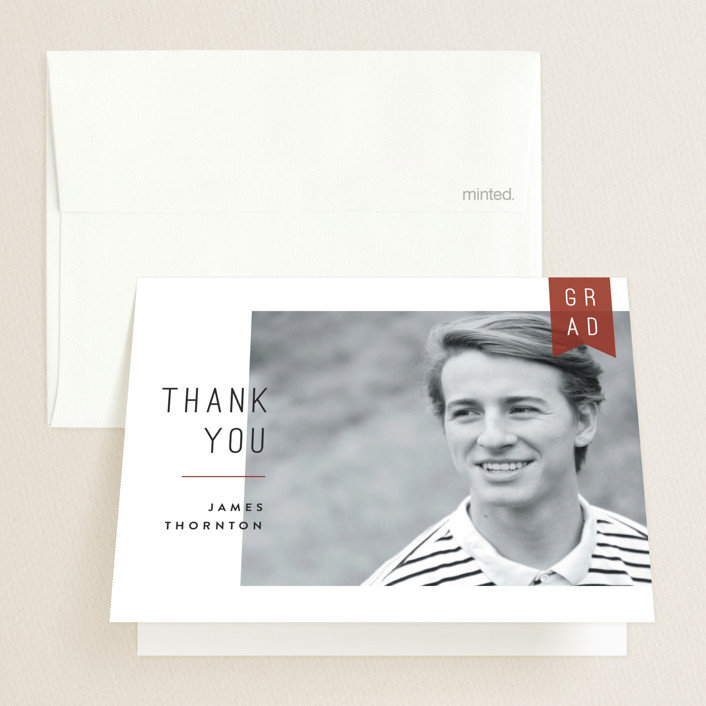 """""""School Pride"""" - Preppy Graduation Thank You Cards in Crimson by Robert and Stella."""