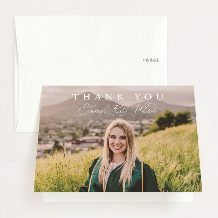 """""""Proudly Announcing"""" - Graduation Thank You Cards in Pearl by Kasia Labocki."""