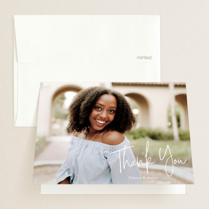 """""""Personal invite"""" - Modern, Preppy Graduation Thank You Cards in Tan by Stacey Meacham."""