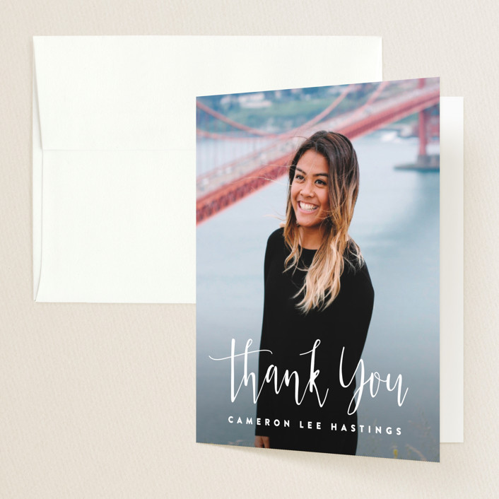 """""""Adventure Awaits!"""" - Graduation Thank You Cards in Mist by Hooray Creative."""
