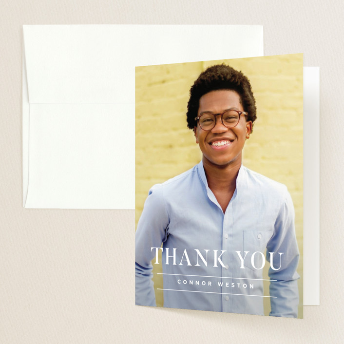 """Proudest Moment"" - Graduation Thank You Cards in Snow by Sandra Picco Design."