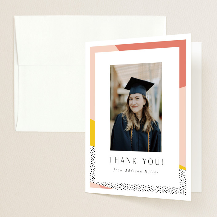 """Bold Border"" - Modern, Preppy Graduation Thank You Cards in Pink Lemonade by Nicole Walsh."